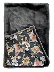 Plutus Two Tone Gray/amber Handmade Luxury Throw With Floral Backing Blanket ...