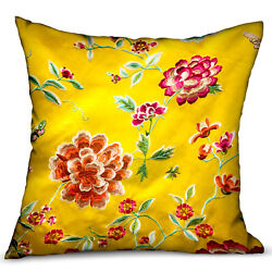 Plutus Heavenly Peonies Yellow Floral Luxury Throw Pillow Double Sided 18 X 18