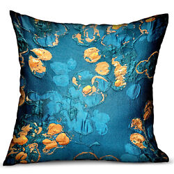 Plutus Bronze Blossom Blue Floral Luxury Throw Pillow Double Sided 16 X 16