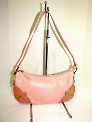 CLAUDIA Firenze Pink Small Pebbled Leather Baguette Bag Purse New $49.95