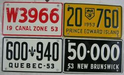4 1953 Mills Cereal License Plate Canal Zone Quebec New Brunswick Edward