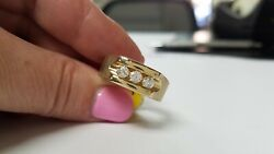 Mens Three Diamond Ring In 14k Yellow Brushed And Smooth Gold Band Ring