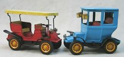 Two 1960's Vintage Tin Friction Old Fashioned Toy Cars --- Bandai Made In Japan