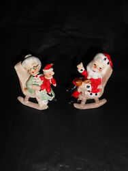 Rare Vintage Lefton Rocking Chair Santa And Mrs Claus Salt And Pepper Shakers 8139