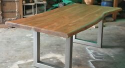 Reclaimed Antique Rustic Wood Live Edge Dining Table  Modern Design Handmade