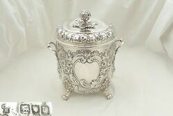 VERY RARE VICTORIAN HM STERLING SILVER EMBOSSED BISCUIT BOX 1899