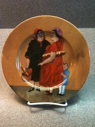 Guy Buffet Tuscan Storefronts Women From Bakery Salad Plate Mint Made In Germany