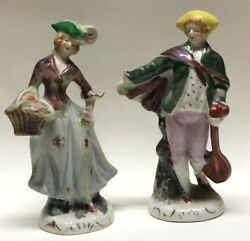 2 Occupied Japan Hand Painted Porcelain Victorian Man And Woman Figurines Signed