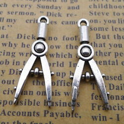 10pcs Charms A Pair Of Compasses Old Silver Beads Pendants Diy 1128mm