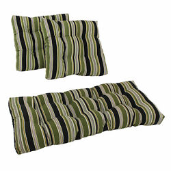 Square Spun Polyester Outdoor Tufted Settee Cushions Set Of 3 - Eastbay Onyx