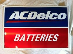 New Acdelco Battery Aluminum Embossed 24 X 36 Sign Ac Delco Collectible