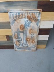 Vintage Telephone In Lobby Hotel Metal Sign Gas Oil Soda Cola 36and039 X 20