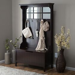 Brown Entryway Full Hall Tree Coat Rack Stand Home Furniture Decor Storage Bench