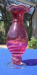 Vintage Cranberry Blown Glass Vase With White Swirls In Ruffle Rim And Base