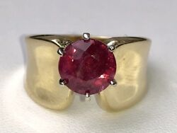 Exquisite 4 Ct. Ruby Solitaire 14k Yellow Gold Gia 10000 Ring 7.1 Grams Size 9