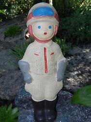Rare Antique Soviet Old Vtg Russian Baby Doll Toy Military Rubber Pilot Astronau