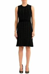 Versace Womenand039s Black Studded Flared Sleeveless Knitted Dress Us L It 46