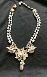 Miriam Haskell Magnificent Pearl Necklace: large Pearl Pendant and Butterflies