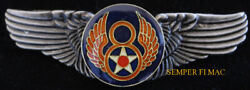8th Air Force Wing Barksdale Us Army Air Corps Pilot Crew Pin Up Veteran Afb