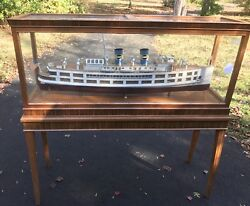 Lannan Ship Models Monumental Ferry Sandy Hook In Wood Case On Stand