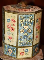 Vintage Belgium Metal Tin Round Container With Lid Yellow Blue Cabbage Roses 8