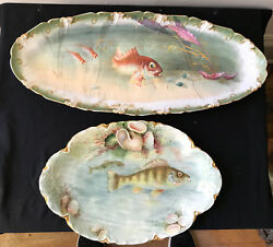 Exquisite Rare Antique French Haviland 2 Fish Platters, 8 Plates, Hand Painted