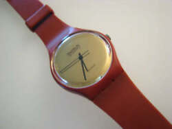 Gr102 Collectible 1983 Red And Gold Swatch With Original 7 Hole Band-rare