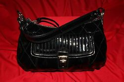 Coach [new] Classic With 1940and039s Style Black Glossy Calfskin Satchel Handbag