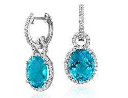 1.97ct Natural Diamond 14k Solid Whitegold Blue Topaz Hoops Snap Closure Earring