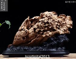 51 Cm Indonesia Agarwood Chinese Cabbage Peony Flower Bird Fengshui Sculpture