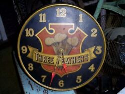 Antique Three Feathers Whiskey Distillery Metal Advertising Clock Sign