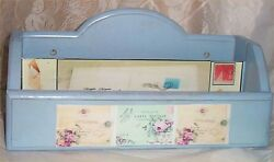 Wood Wall Letter Holder Shabby Victorian Chic Blue Pictures Wall Mount