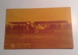 1927 Rppc Post Card Charles Lucky Lindbergh Exhibit Coupon On Back