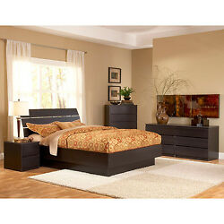 Brown 4 Piece Full Bed Furniture Set Dorm Bedroom Home Living Decor Dresser Apt