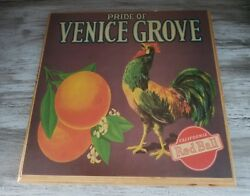 Vintage Rooster Wood Sign Country Kitchen Farm Pride Of Venice Grove Ca Red Ball