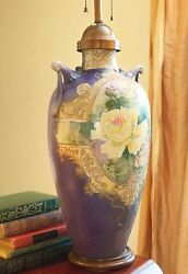 Hand Painted Vase Moriage Asian Handles Urn Copper Top Wood Base Yellow Rose 27