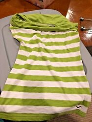 Womens Hollister Size Small Green Stripe Top Boat Neck