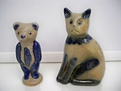 Bbp Beaumont Brothers Salt Glaze Pottery Cat And Bear Year 1990