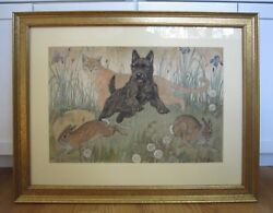 Paul Bransom (1885-1979) Mixed Media Original Painting Artwork Scottish Terrier