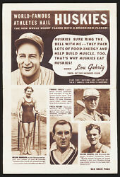 1936 Huskies Club Advertising Flyer With Lou Gehrig, Jake Powell And Frank Frisch