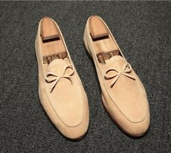 mens male soft leather suede formal dress shoes driving pumps slip on classic