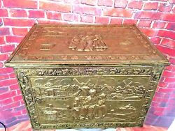 Vintage Holland Windmill Copper Scenic Embossed Sewing Document Fire Box England