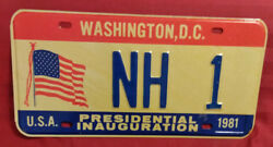 1981 District Of Columbia Nh-1 New Hampshire Inaugural License Plate