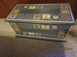 Vintage Hand-carved Hand-painted Wood Bench/chest By Pier 1 Imports