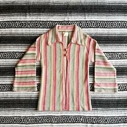 Vtg Sears Mates Jr Bazaar Sz M Wood Button Bell Sleeve Cardigan Beach Striped $35.99