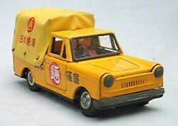 Vintage Tin Friction Japanese Advertising Truck With Vinyl Covered Bed