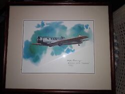 Pair Of Nixon Galloway Prints Curtis Falcon @ Boeing 221a Framed And Matted