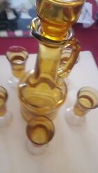 Vintage Himark Italy Pitcher W/stopper And 5 Cordials-gold Leaf And Grape Motif
