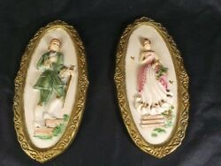 Tuscanant Pair Of French Style Wall Plaques Made From Gesso