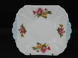Shelley Begonia Square Handled Cake Plate 9 5.8 Pink And Yellow Flowers